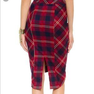 Free People Plaid Precision High-Low Pencil Skirt